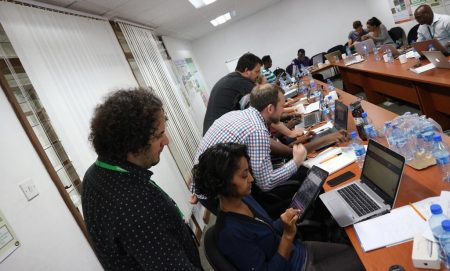 Picture of CIALCA staff share expertise on digital data collection, analysis and reporting. Photo by Marc Schut.