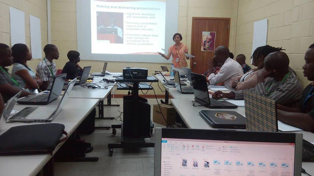 Picture of Katherine Lopez giving a presentation at the skills development training