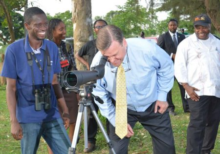 Picture of Ambassador Symington bird watching with DG Sanginga and members of IITA's bird watching team.