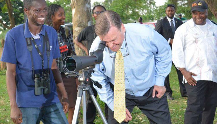 Picture of Ambassador Symington bird watching with DG Sanginga and members of IITA's bird watching team.