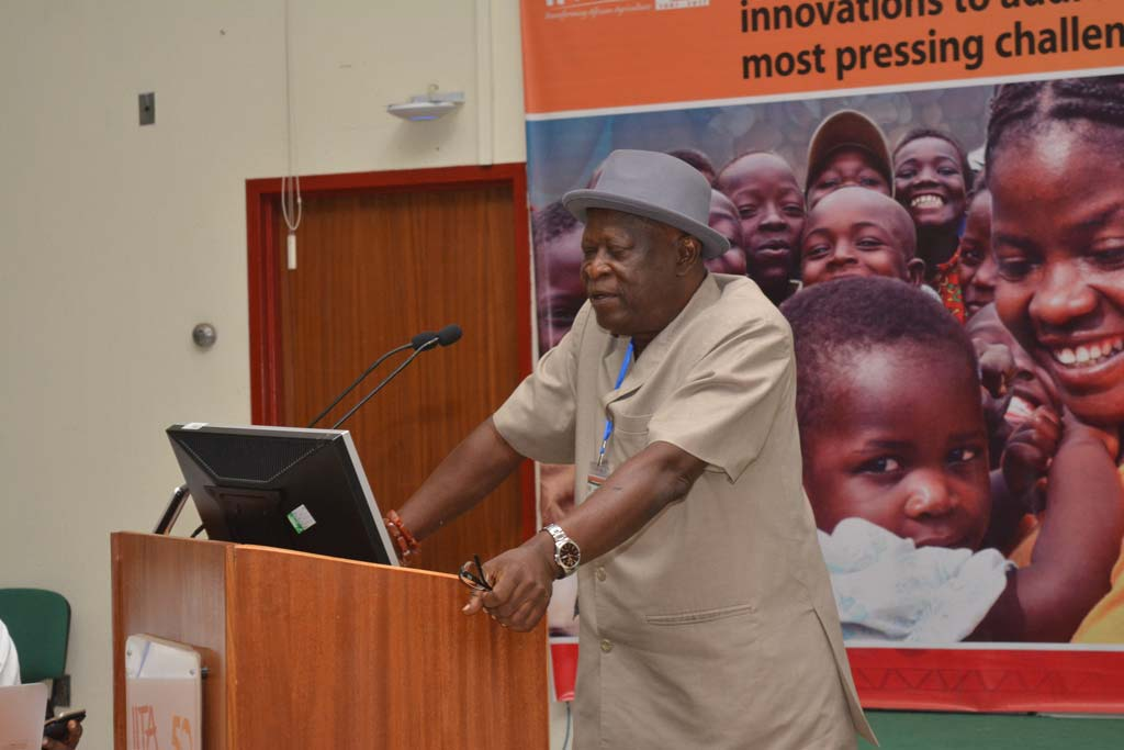 Picture of IITA Cassava Weed Management Project Leader, Alfred Dixon addressing delegates.