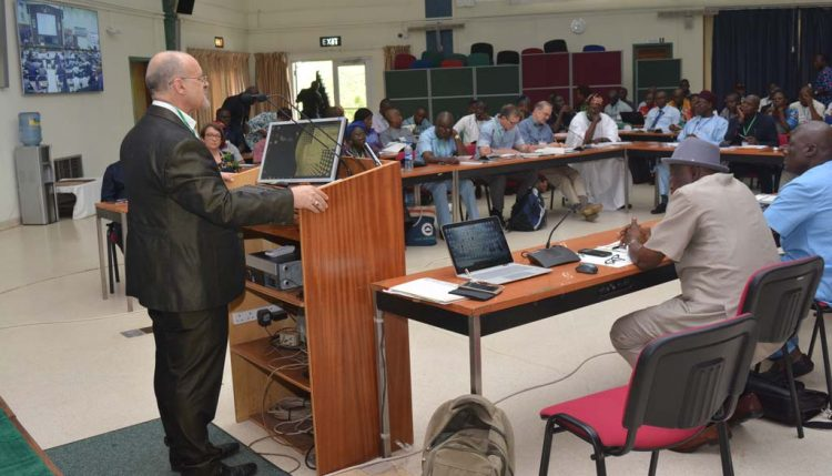 Picture of IITA DDG Kenton Dashiell giving his opening remarks at IITA-CWMP annual review and planning meeting.