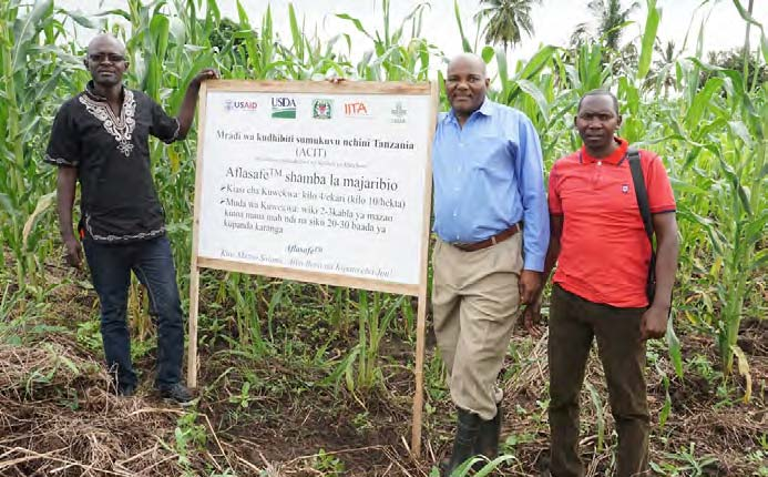 Picture of some of the participants at the Aflasafe trial fields where they were taught the practical application of the technology in the field.