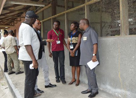 Picture of the IITA-Onne Youth Agripreneur explaining the youth program to the NDDC officials