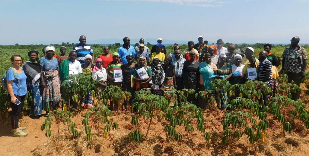 Picture of DDG R4D (first from left) with beneficiaries of improved cassava varieties and technologies on good agronomic practices.