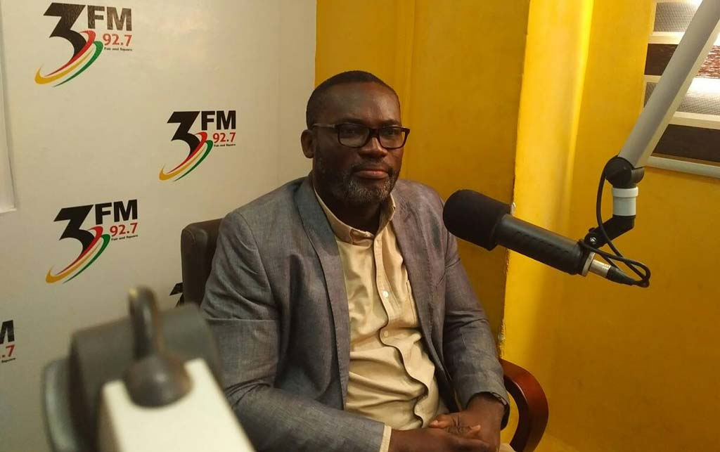 Picture of Richard Asare being interviewed at the 3FM studio in Accra