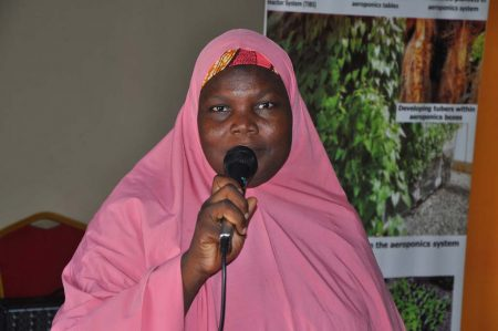 Picture of Aisha Abubakar, CAY-SEED beneficiary, sharing her experience and its impact on her life.