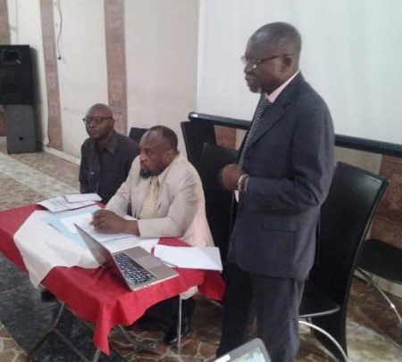 Picture of IITA Country Representative, Nzola-Meso Mahungu (standing), presenting at the workshop