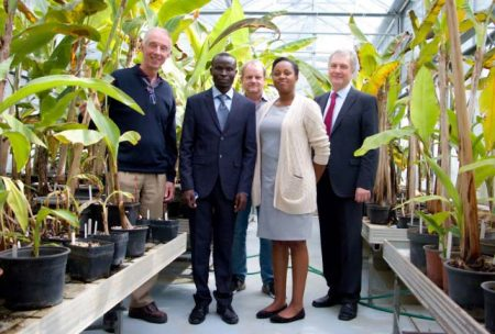 Picture of Moses Nyine (second from left), who received his PhD from Palacky University Olomouc in the Czech Republic, with his IITA supervisors