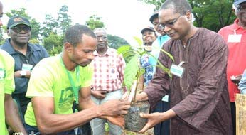 Picture of NCF DG, Muhtari Aminu-Kano, about to plant a tree during the tree planting exercise at IITA Tree Heritage Park