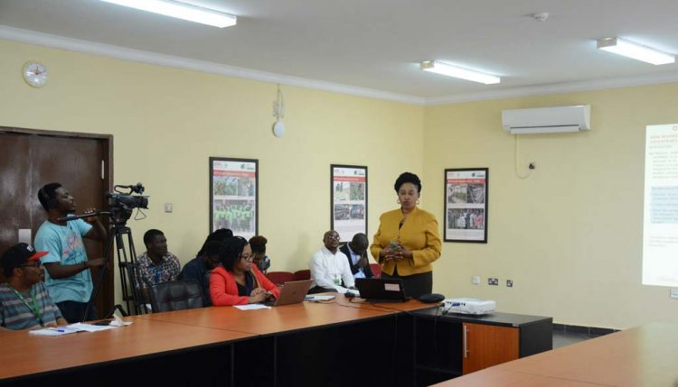 Picture of Team Lead from Sterling Bank; Mrs Bukola Awosanya addressing the participants at the workshop