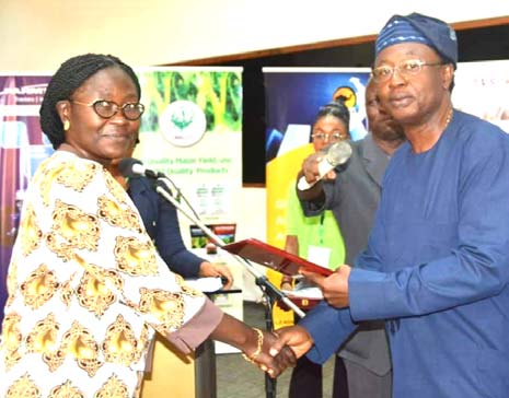 Picture of Beatrice Aighewi receiving the award on behalf of DG Sanginga from FACAN President Dr Victor Iyama.