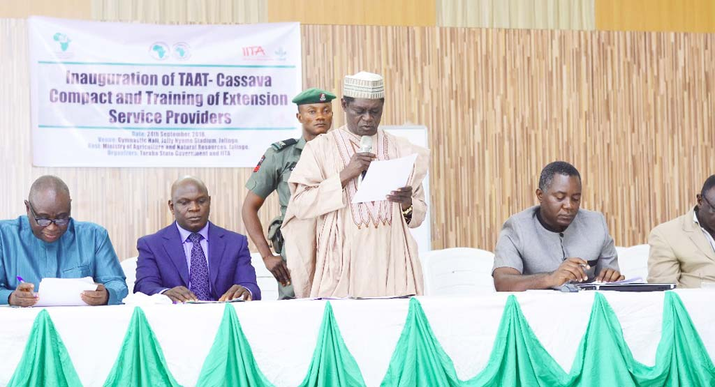 Picture of Secretary to the Government of Taraba, Anthony Jellason, speaking at the inauguration of the TAAT Cassava Compact