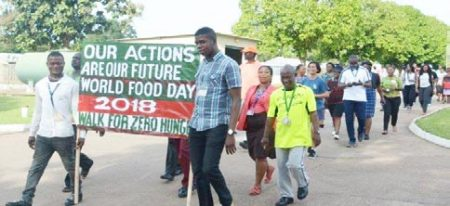 Picture of IITA staff members celebrating 2018 World Food Day with a walk for Zero Hunger