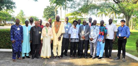 Photograph of the key stakeholders of YIIFSWA II project during a workshop at IITA