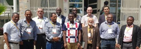 Picture of Team of CGIAR scientists with IITA DDG-P4D, Kenton Dashiell (front row, 3rd from right). Photo by Paul DemoCIP.