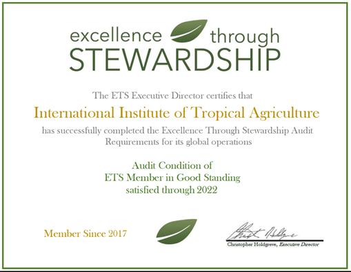 IITA gets biotechnology stewardship certification