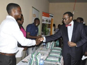 Picture of AfDB PresidentAkinwunmi Adesina  visiting exhibition stands.